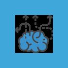 Ícone de um cérebro com várias setas direcionando para vários lados